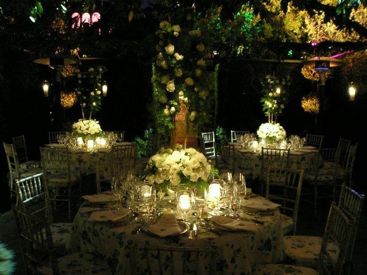 centre de table mariage soirée lumière
