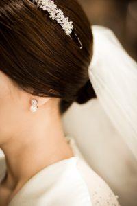 voile couronne mariée boucle d'oreille